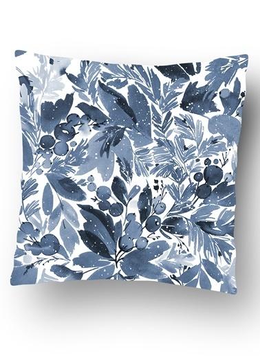 Lyn Home & Decor Kış Mavi Çiçek Ve Yaprak Yastık Kılıfı Renkli